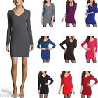 NEW Party Warm Sweater Dresses Ladies Top V Neck Winter Cashmere Dress Size 14-6