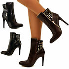 Ladies Womens Diamante Studded Back High Top Ankle Boots High Heel Booties Size