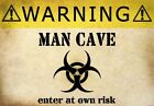 FV6 Vintage Style Warning Man Cave Enter At Own Risk Funny Poster Print A2/A3/A4