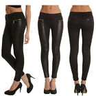 Women Casual Faux Leather Panel Stretchy Skinny Leggings Pants Trousers S-XXL