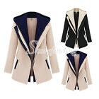 New Women Autumn Long Sleeve Outerwear Slim Zipper Jacket Hooded Coat Top S-XXL