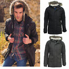 Mens Faux Fur Hooded Parka Parker Padded Lined Winter  Brave Soul Jacket Coat