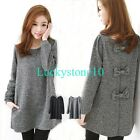 New Fashion Women Bowknot Back Long Sleeve Wool Blend Blouse Dress Casual Tops