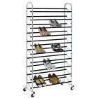 50 Pair Free Standing 10 Tier Shoe Tower Rack Chrome Metal Shoe Rack S59
