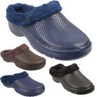 Mens Fur Lined Clogs Slippers Hospital Garden House Slip on Sandals Size UK7 -12