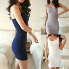 Women Girl Basic Stretch Spaghetti Strap Plain Long Tank Top Cami Mini Dress #CB