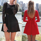 DA122 Sexy Womens Girls Clubwear Party Above Knee Bowknot Backless Lace Dress