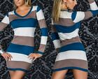 Girls Womens Sexy  Long Sleeve Striped Colour Block Dress Clubwear Tops+G-string
