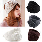 Crochet Twist Knitted Braid Headwrap Camellia Warm Soft Wool Knit Wide Hair Band