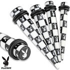 Acrylic Black and White Checker Patterned Licensed Playboy Bunny Taper w/O-Rings