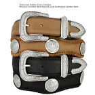 """American Indian - Coin Concho Genuine Leather Western Cowboy Belt, 1-1/2"""" Wide"""