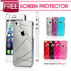Luxury Brushed Metal Aluminum Hard Cover Case For iPhone 5 5G + Screen Protector