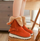 Fashion Womens Faux Suede Warm Lined Heeled Bowtie Comfy Winter Snow Long Boots