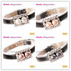 """Fashion 8-9mm Cultured Pearl Rectangle Gold Plated Black Leather Bracelet 8"""""""