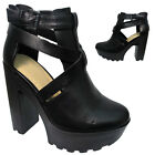 LADIES WOMENS DUAL CROSS STRAP ANKLE BOOTS FAUX  LEATHER BUCKLE HIGH HEEL SANDAL
