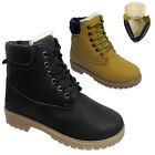 MENS WOMENS LADIES WINTER ANKLE LACE UP UNISEX WARM FUR INNER BOOTS SHOES SIZE