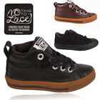 Kids Boys Converse Leather Slip On Chuck Taylor Trainer High Hi Top All Star New