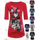 Womens Ladies 3/4 Sleeve Dip Hem Butterfly Flower Rose Tunic Dress Top Size 8-26