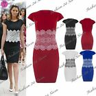 Womens Ladies Embossed Lace Celeb Stretchy Cap Sleeves Pencil Bodycon Mini Dress