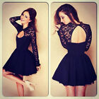 Sexy Women Floral Long Sleeve Lace Backless Evening Party Mini Dress Gayly