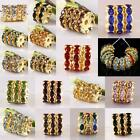 Crystal Rhinestone 12MM Floral Flower Shape Golden Spacer Bead Jewelry Findings