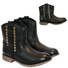 NEW WOMENS LADIES MID HEEL WINTER BIKER WESTERN CHELSEA ANKLE SHOE BOOTS SIZE
