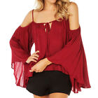 Fashion Shoulder Spaghetti Straps Blouse Red Women Loose Pleated Chiffon Shirt