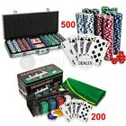 PROFESSIONAL 200/500 PIECE TEXAS HOLD'EM POKER CASINO GAME CHIPS SET IN CASE