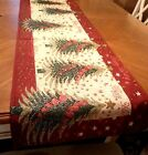 6ft Christmas Table Runner Tapestry Trees Snowflakes Presents Holiday Decor NEW