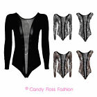 New Women Mesh Leopard Sequin Sleeved Sleeveless Leotard Bodysuit Size 6-12