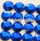 Blue ( Any Size ) hot fix Iron On Faceted Cobalt rhinestuds 6ss 10ss 16ss 20ss