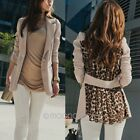New Sexy Womens Lapel Collar Long Sleeve Leopard Slim Coat Jacket Outwear Tops