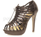 WOMENS LADIES BRONZE BROWN LACE UP CAGED PLATFORM HIGH HEELS SANDALS SIZE