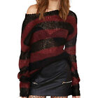 Fashion Trendy Women Hollow Out Sexy Off Striped Pullover Loose Knitted Sweater