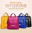 Women Girl double leather Shoulder Backpack School Bag