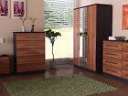 Wyoming Gloss Walnut Black Bedroom Bed Side  4+4 Drawers 5 Drawer Chest Wardrobe