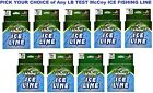 McCoy Ice Fishing Line Copolymer Mean Green 125 Yard Spool Any Pound Test