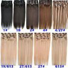 8pcs/set Long Straight 100% Real Remy Human Hair Clip-in/on Hair Extensions 100g