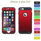 """For iPhone 6 Plus 5.5"""" Red Hard Shell & Silicone Hybrid Rugged Impact Case Cover"""