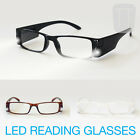 NEW LED L.E.D MAGNIFYING READING GLASSES - BLACK, BROWN & WHITE +1.5+2.0+2.5+3.0