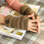 Fashion Women Girl's Cute Knit Gloves Fingerless button Autumn Winter Keep Warm