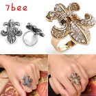 Hot Punk Adjustable Flower Fleur-De-Lis Crystal Bead Cross Cocktail Finger Ring