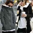 Womens Long Sleeve Winter Hooded Coat Cardigan Sweater Outwear Zipper Tops 35DI
