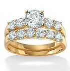 18k Gold Over Silver Round Cut Cubic Zirconia Wedding Ring Set
