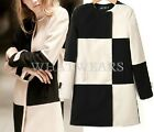 Free Shipping Womens Black White Plaid Check Warm Long Trench Coat Outwear WFR