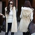 Winter Women Warm Imitation Faux Fur Hooded Long Vest Waistcoat Coat Jacket
