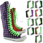Woman Canvas Mid Calf Tall Boots Casual Sneaker Punk Flat Grassy Green Shoelace