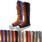 Woman Canvas Mid Calf Tall Boots Casual Sneaker Punk Flat Sweet Orange Shoelace