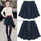 Women Chic High Waist Short Zipper Polka Dot Skater Flared Pleated Mini Skirt N4