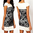 Celeb Ladies Womens Sexy Bodycon Pencil Black Lace Cocktail Evening Party Dress